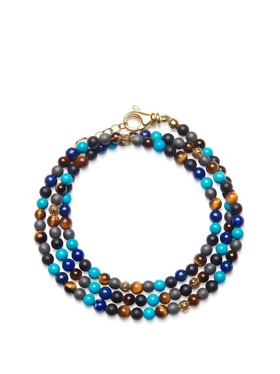 The Mykonos Collection - Brown Tiger Eye, Matte Onyx, Blue Lapis, Turquoise and Gold - Nialaya Jewelry
