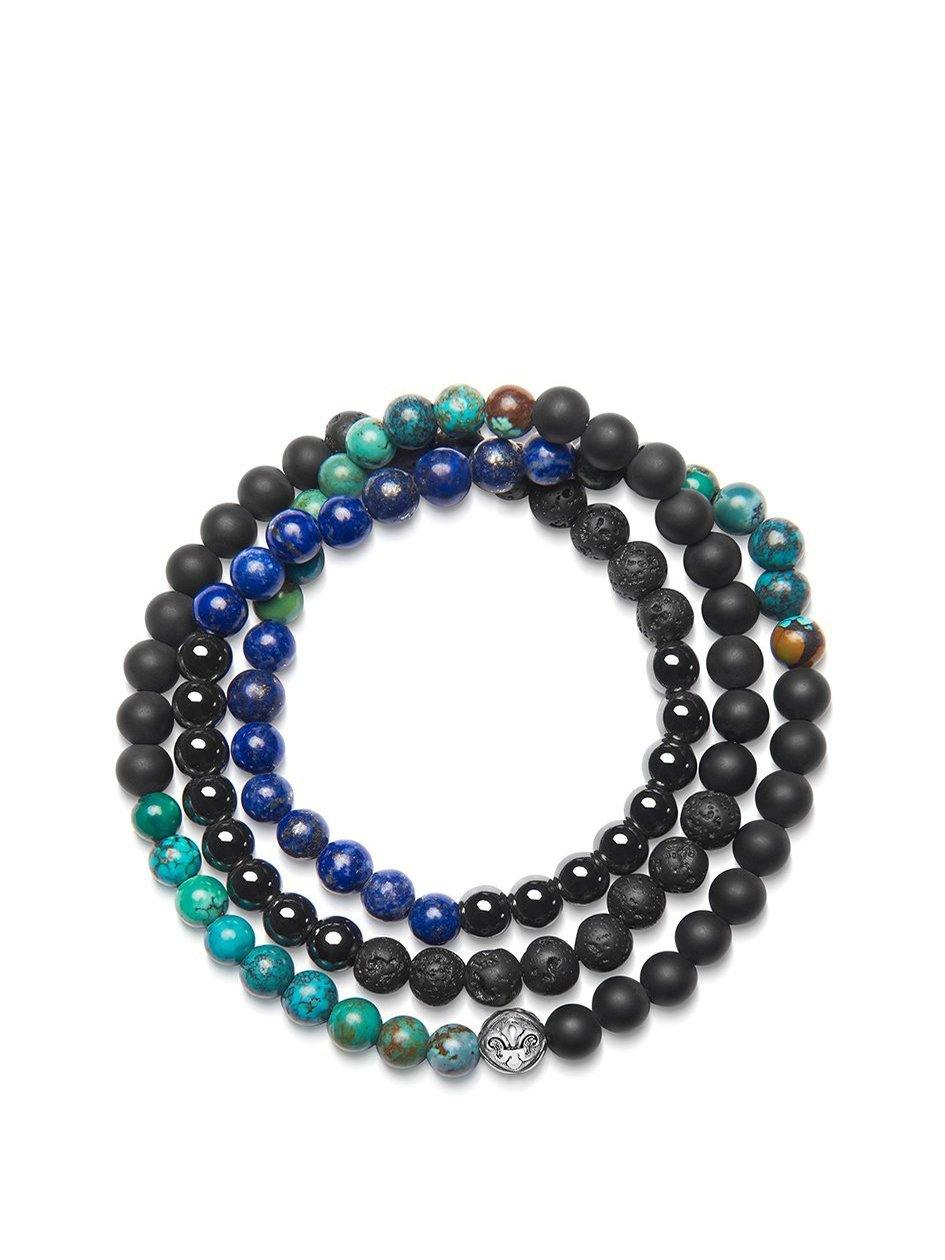Men's Wrap-Around Bracelet with Lava Stone, Matte Onyx, Agate, Blue Lapis and Bali Turquoise