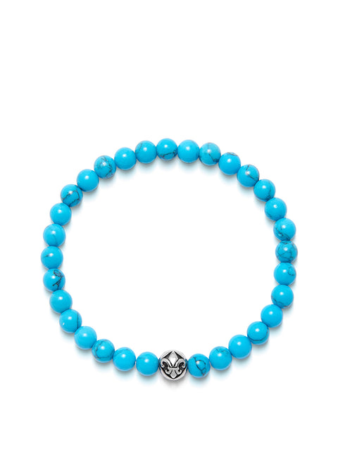 Men's Wristband with Turquoise and Silver - Nialaya Jewelry