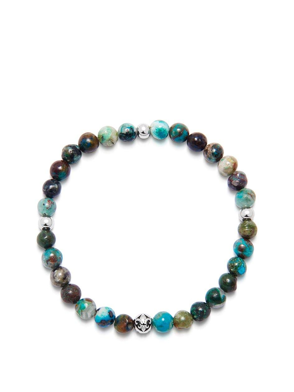 Men's Wristband with Chrysocolla and Silver - Nialaya Jewelry