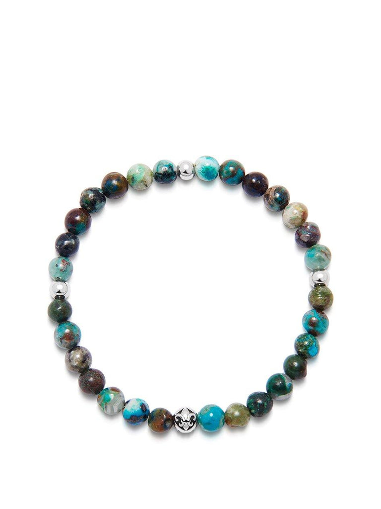 Men's Wristband with Chrysocolla and Silver