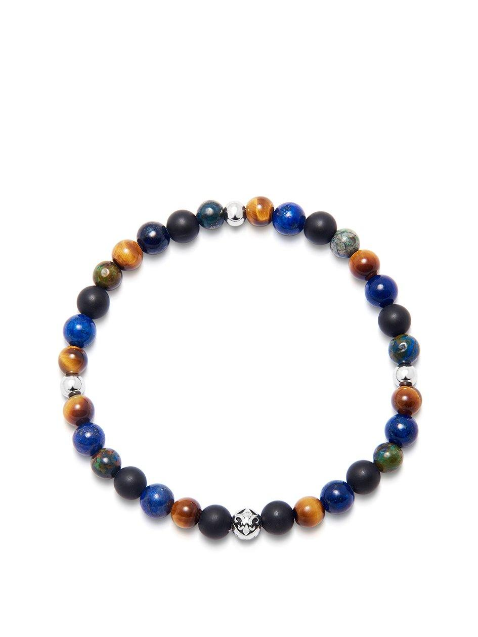 Men's Wristband with Blue Lapis, Brown Tiger Eye, Matte Onyx and Chrysocolla - Nialaya Jewelry