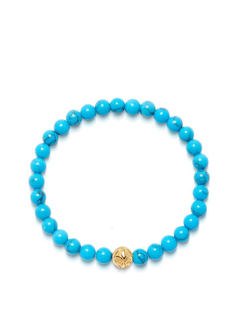 Men's Wristband with Turquoise and Gold - Nialaya Jewelry