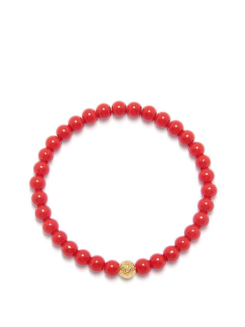 Men's Wristband with Red Vintage Trifocal Beads and Gold - Nialaya Jewelry