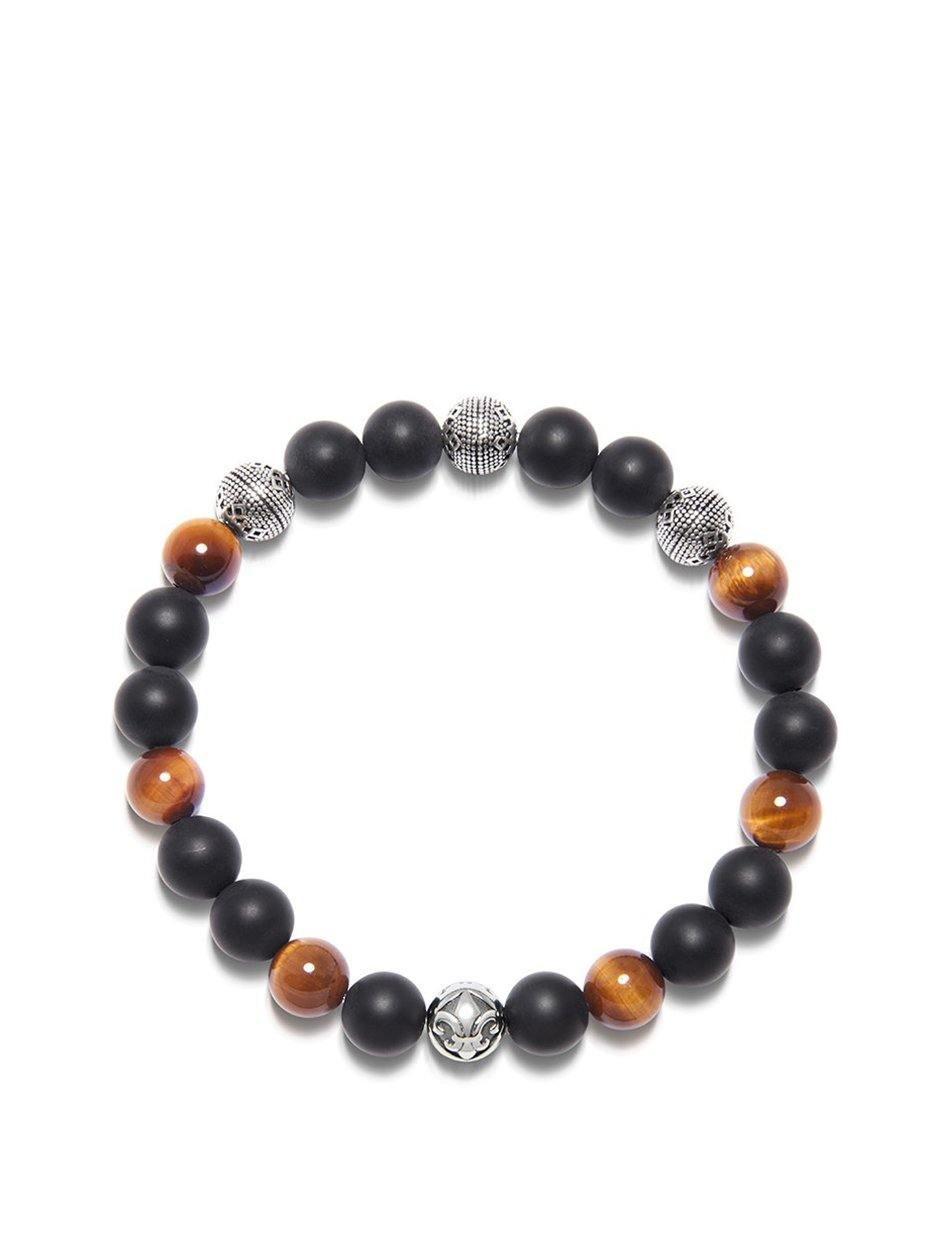 Men's Wristband with Brown Tiger Eye, Matte Onyx and Silver Cairo Beads