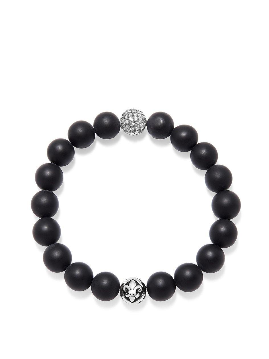 Wristband with Matte Onyx and Silver CZ - Nialaya Jewelry