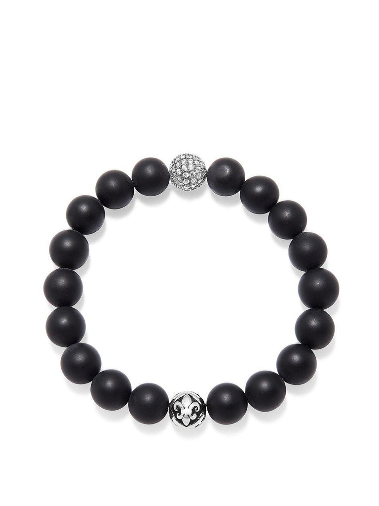 Wristband with Matte Onyx and Silver CZ