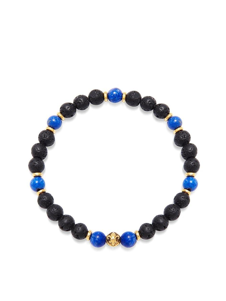 Men's Wristband with Lava Stone and Blue Lapis