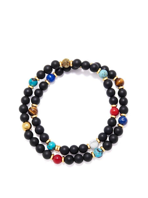 Men's Wrap-Around Bracelet with Matte Onyx, Blue Lapis, Bali Turquoise, Brown Tiger Eye and Howlite