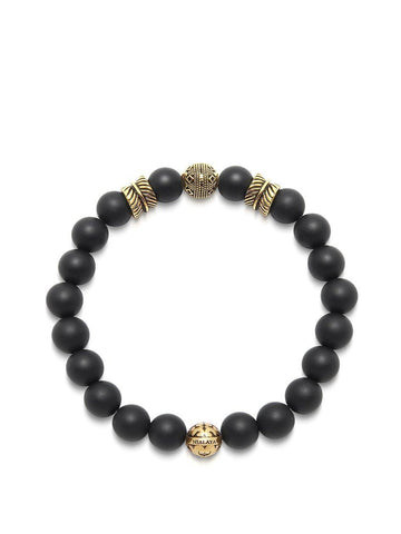 Men's Wristband with Matte Onyx and Gold Feather Beads
