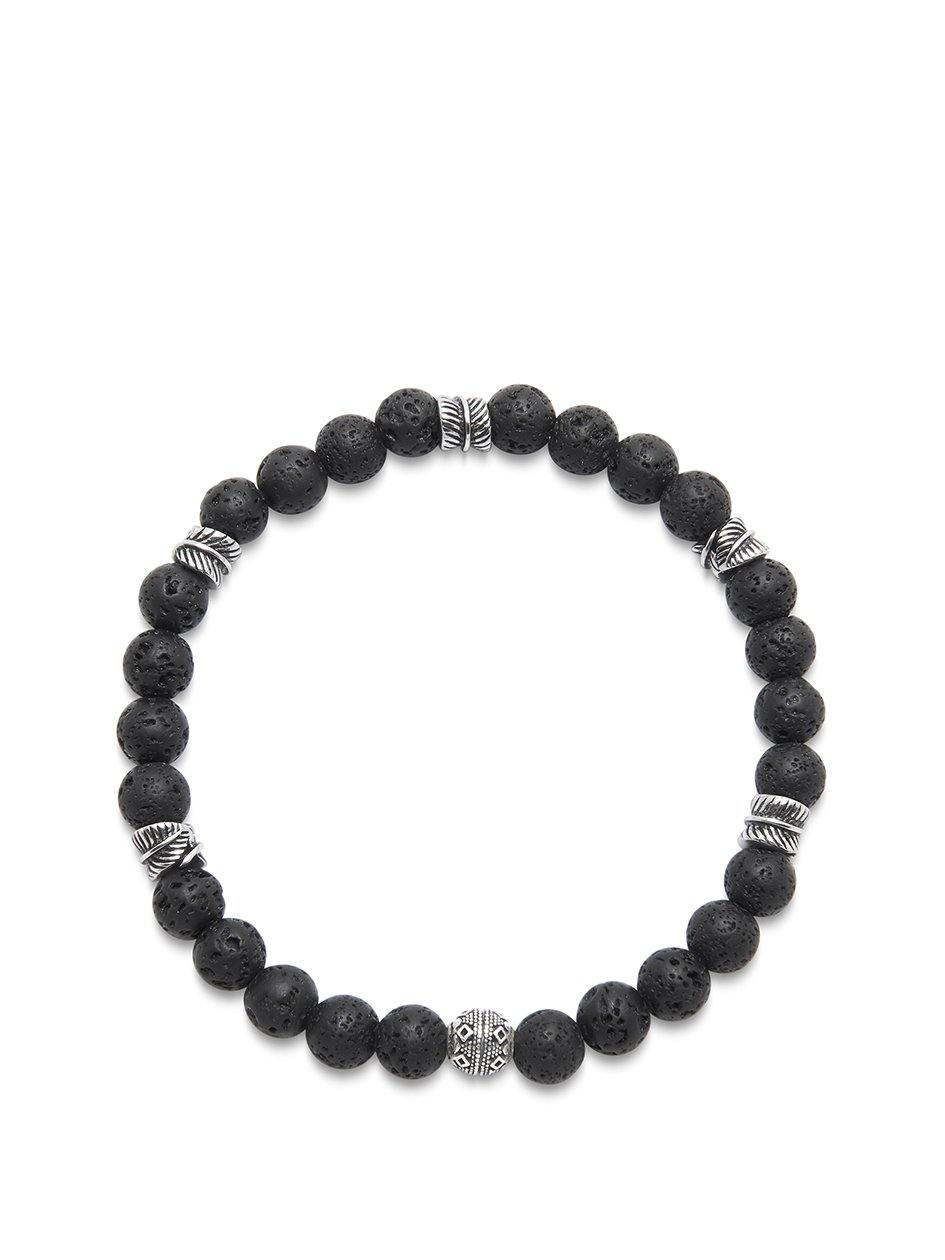 Men's Wristband with Lava Stone and Silver Feather Beads - Nialaya Jewelry
