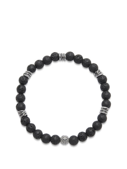 Men's Wristband with Lava Stone and Silver Feather Beads