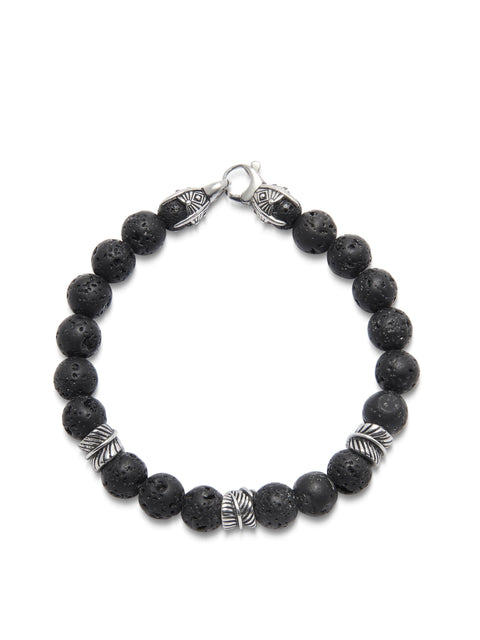 Men's Beaded Bracelet with Lava Stone and Silver Feather Beads
