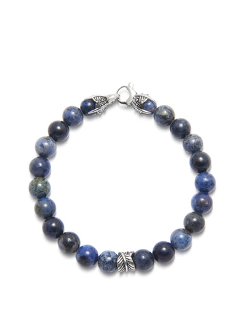 Men's Beaded Bracelet with Blue Dumortierite and Silver Feather Bead