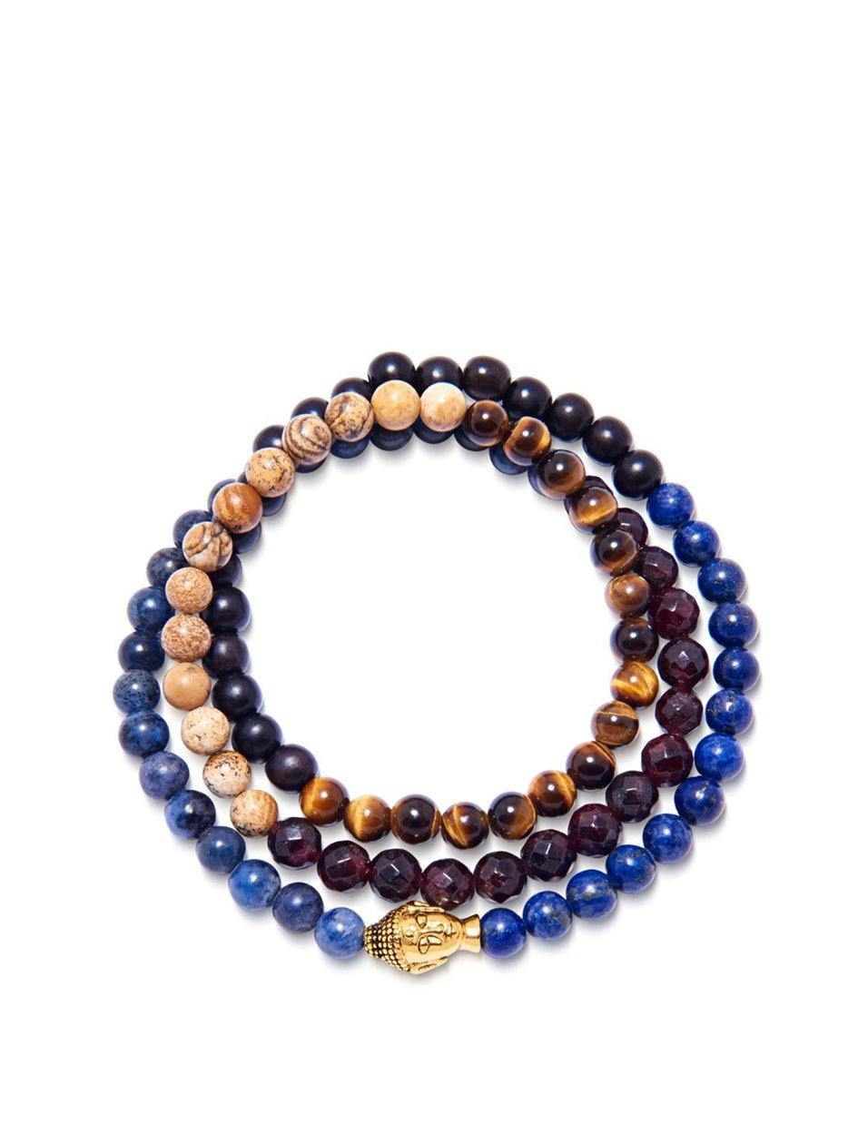 Men's Wrap-Around Bracelet with Blue Lapis, Jasper, Brown Tiger Eye, Garnet and Gold Buddha
