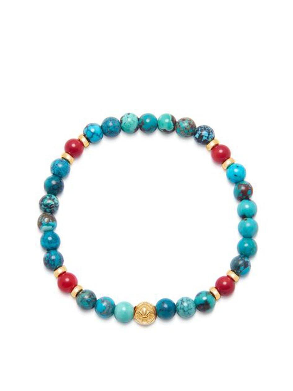 Men's Wristband with Bali Turquoise, Red Vintage Trifocal Beads and Gold