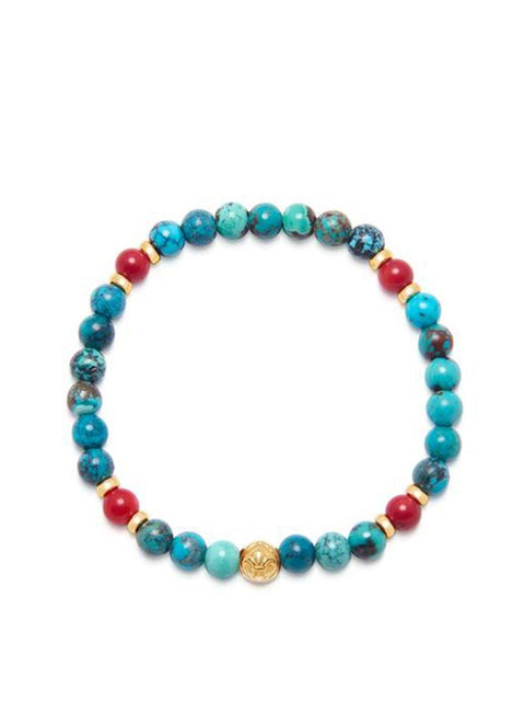 Men's Wristband with Bali Turquoise, Red Jade and Gold