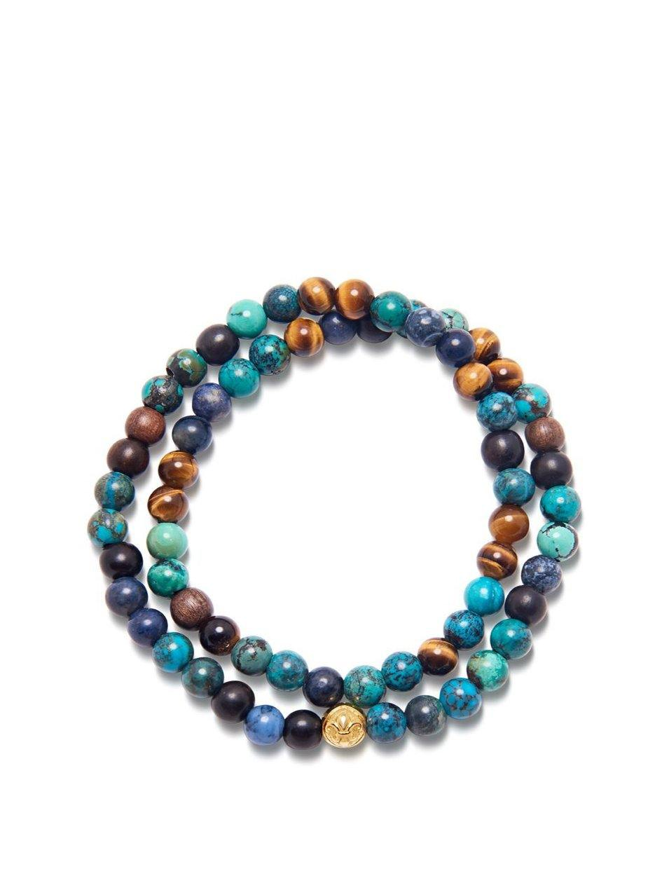 Men's Wrap-Around Bracelet with Bali Turquoise, Brown Tiger Eye, Ebony and Blue Dumortierite