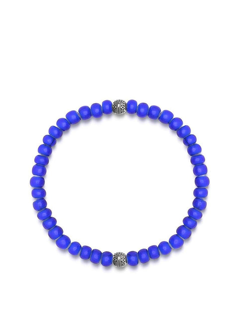 Men's Wristband with Blue Vintage Glass and Cairo Beads - Nialaya Jewelry