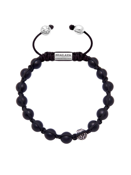 Men's Classic Beaded Bracelet with Matte Onyx and Silver - Nialaya Jewelry