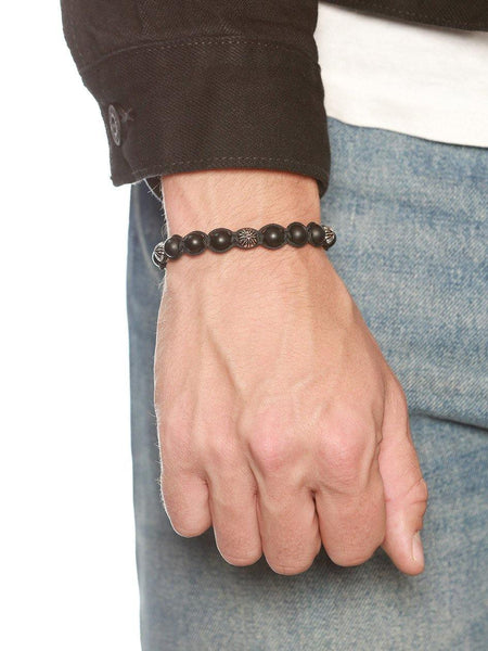 Men's Classic Beaded Bracelet with Matte Onyx and Silver - Nialaya Jewelry  - 2