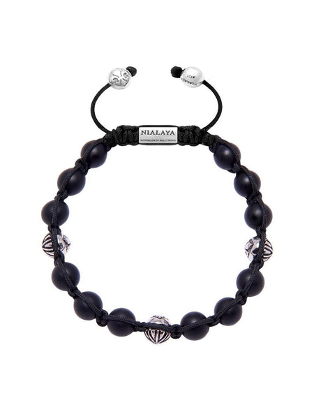 Men's Classic Beaded Bracelet with Matte Onyx and Silver - Nialaya Jewelry  - 1