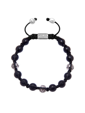 Men's Classic Beaded Bracelet with Matte Onyx and Silver