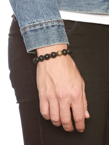 Men's Classic Beaded Bracelet with Matte Onyx and Gold - Nialaya Jewelry  - 2