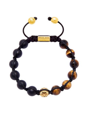 Men's Classic Beaded Bracelet with Matte Onyx and Brown Tiger Eye