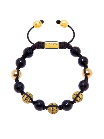 Men's Classic Beaded Bracelet with Agate and Gold