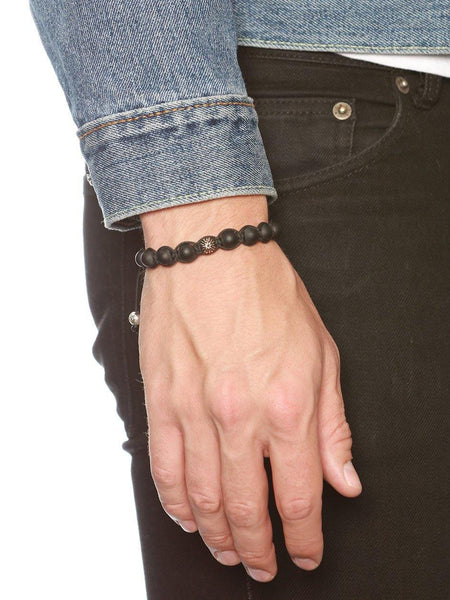 Men's Classic Beaded Bracelet with Matte Onyx and Rose Gold - Nialaya Jewelry  - 2