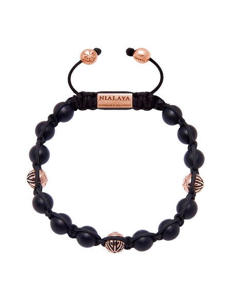 Men's Classic Beaded Bracelet with Matte Onyx and Rose Gold - Nialaya Jewelry  - 1