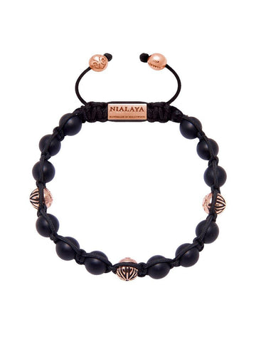 Men's Classic Beaded Bracelet with Matte Onyx and Rose Gold