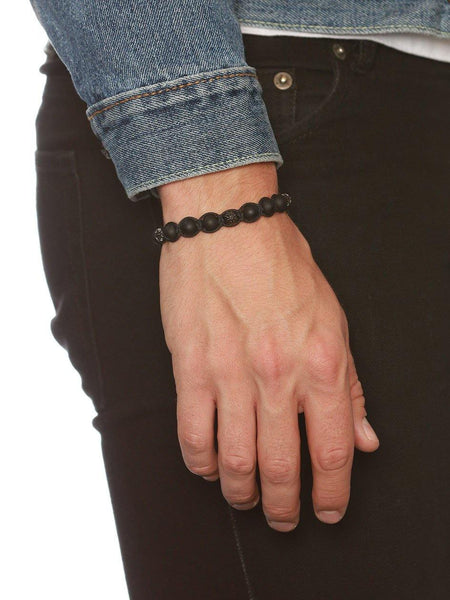 Men's Classic Beaded Bracelet with Matte Onyx and Rhodium - Nialaya Jewelry  - 2
