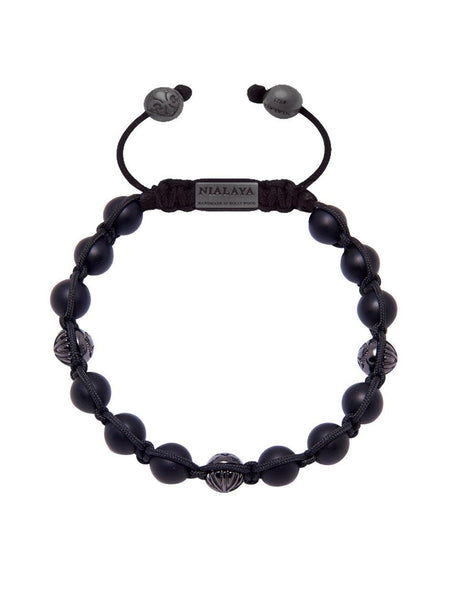 Men's Classic Beaded Bracelet with Matte Onyx and Rhodium - Nialaya Jewelry  - 1