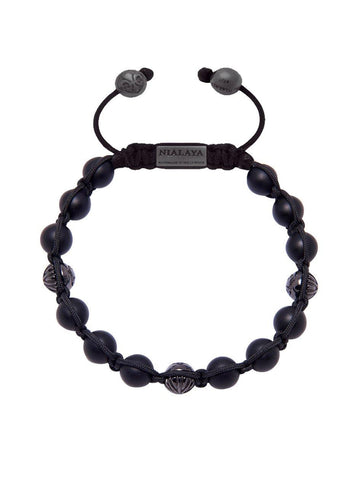 Men's Classic Beaded Bracelet with Matte Onyx and Rhodium