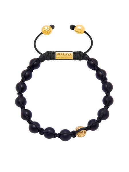 Men's Classic Beaded Bracelet with Matte Onyx and Gold - Nialaya Jewelry