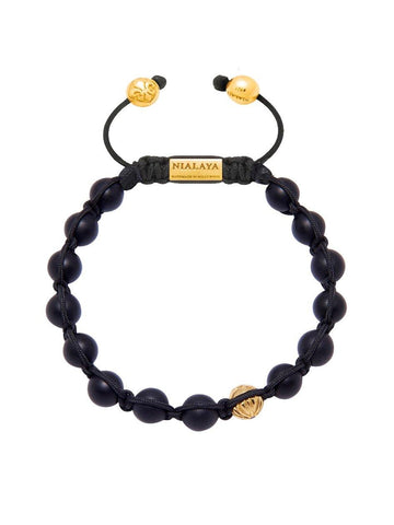 Men's Classic Beaded Bracelet with Matte Onyx and Gold