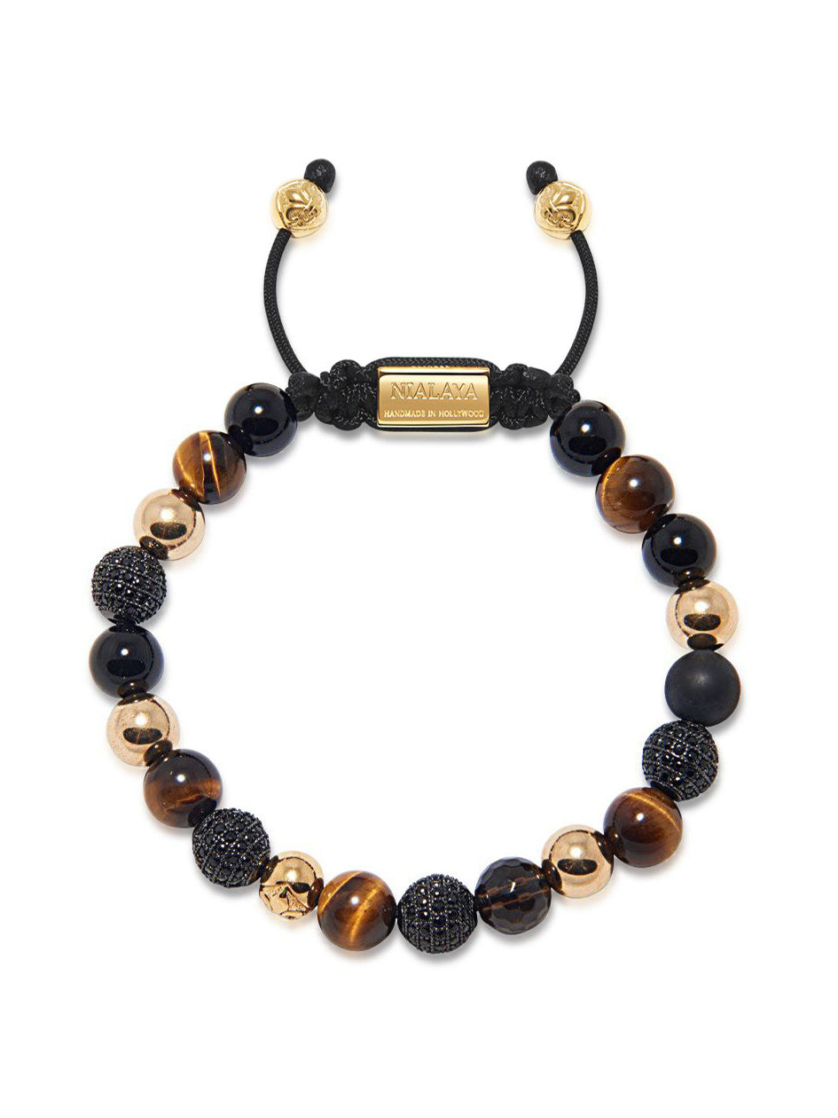 Men's Beaded Bracelet with Brown Tiger Eye, Agate, Matte Onyx, and Smoky Quartz - NIALAYA INC