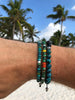 Men's Beaded Bracelet with Ebony, Bali Turquoise and Indian Silver
