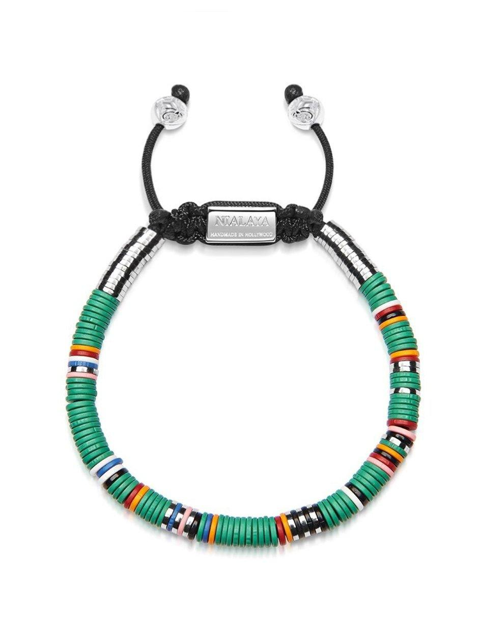 The Tulum Collection - Men's Beaded Bracelet with Green Disc Beads