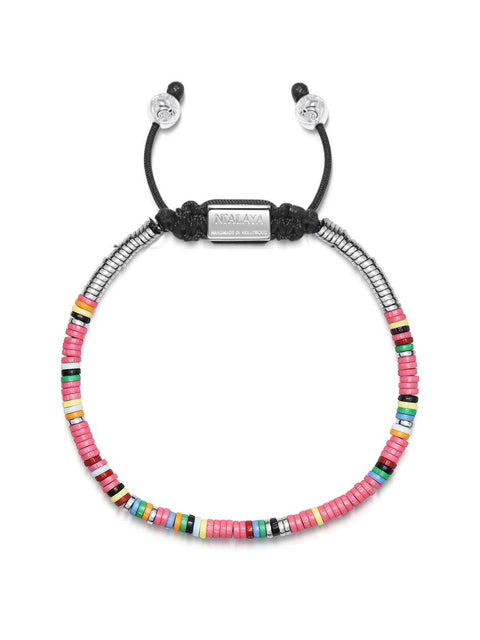 The Tulum Collection - Men's Beaded Bracelet with Pink Mini Disc Beads
