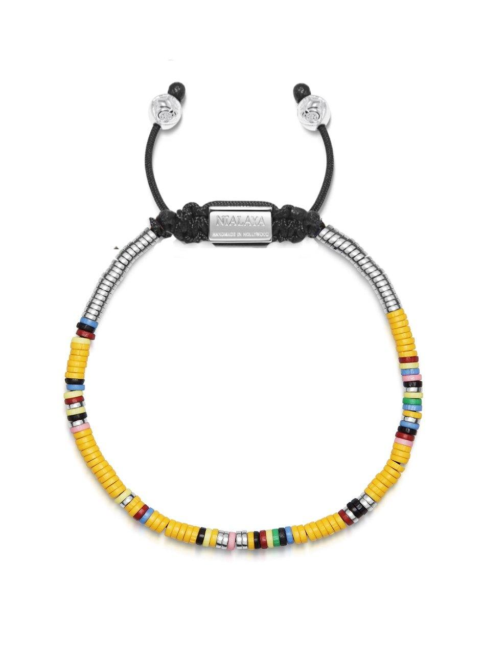 The Tulum Collection - Men's Beaded Bracelet with Yellow Mini Disc Beads