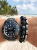 Men's Beaded Bracelet with Black CZ Diamond, Lava Stone, Matte Onyx and Agate