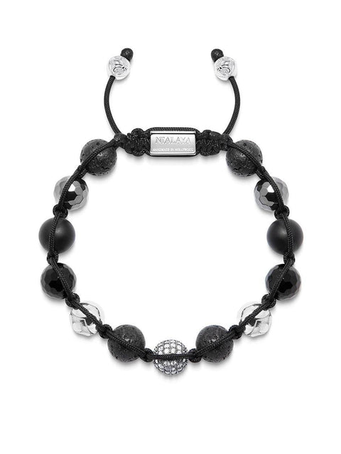 Men's Beaded Bracelet with Clear CZ Diamond, Lava Stone, Hematite and Agate