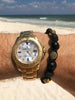 Men's Beaded Bracelet with Matte Onyx and Black/Gold CZ Diamonds