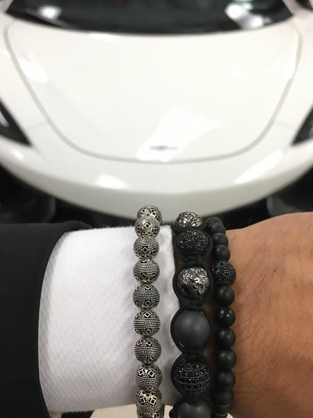 CZ Diamond Black, Matte Hematite & Black Rhodium