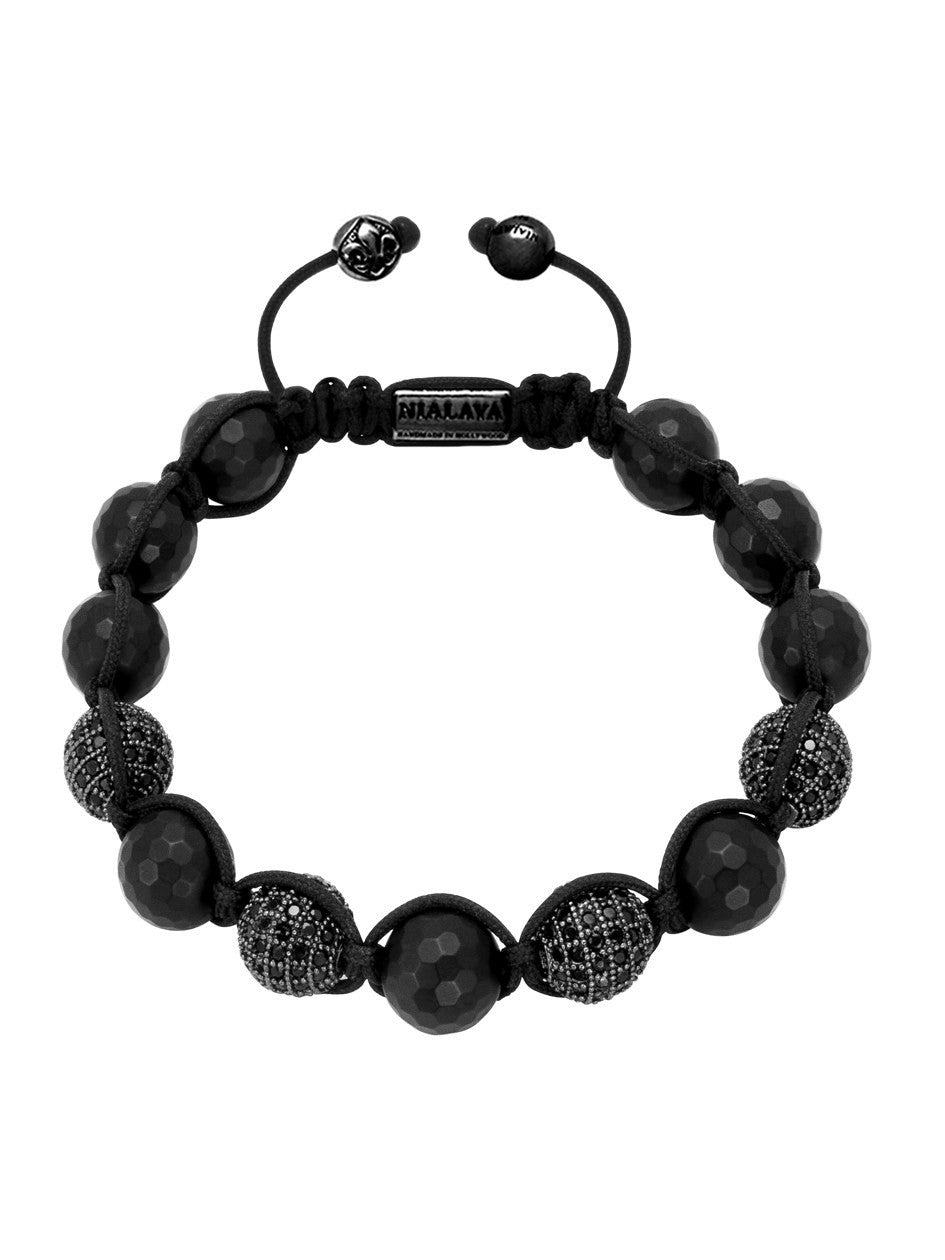 CZ Diamond Black & Matte Onyx - Nialaya Jewelry  - 1
