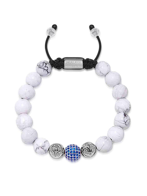 Men's Beaded Bracelet with Howlite, Silver and Blue CZ Diamond