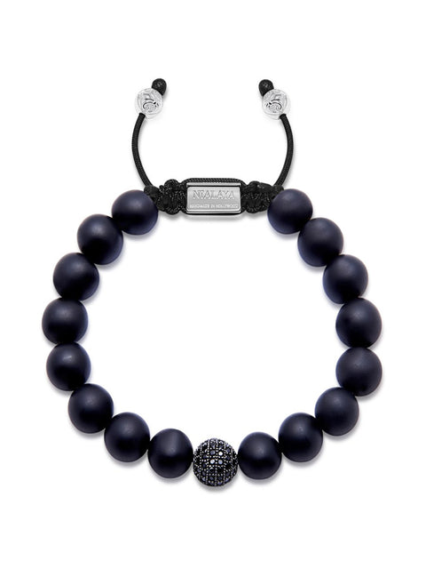 Men's Beaded Bracelet with Black CZ Diamond & Matte Onyx